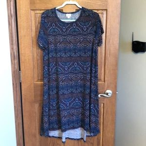 Lularoe Shades of Blue No Pocket Carly Dress NWOT